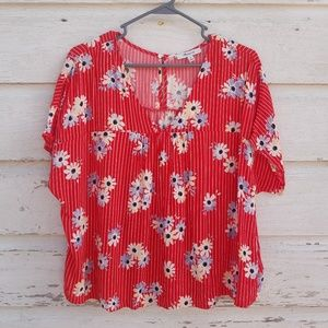 Madewell Red Floral Print Boxy Top